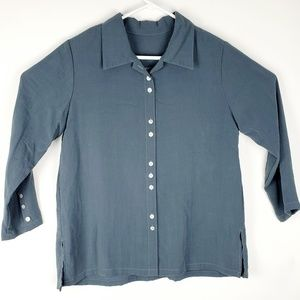 Fridaze Linen Shirt M gray Button Down Lagenlook A